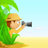 Photographer cartoon hunter in rainforest and desert