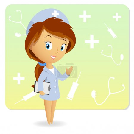 Illustration for Cute female nurse with tablet notepad chart on background. Vector illustration. - Royalty Free Image