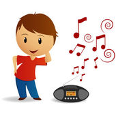 Cartoon young boy dance with radio recorder