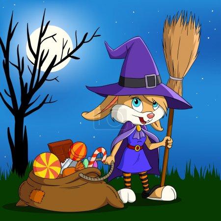 Cartoon halloween bunny girl with candy sack.