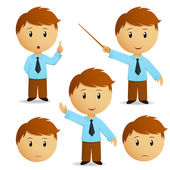 Set of happy cartoon businessman for presentation in blue shirt with tie Vector illustration