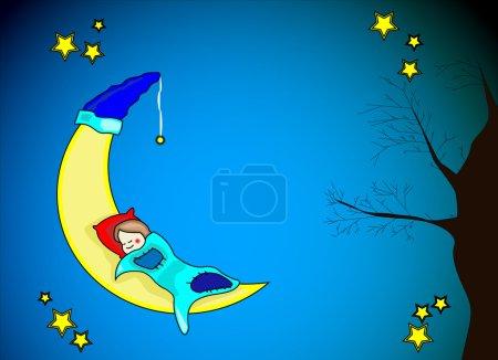 Illustration pour Petite fille dormant sur lune jaune - image libre de droit