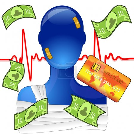 Illustration for Injured person with money and creditcard, expensive medical help - Royalty Free Image