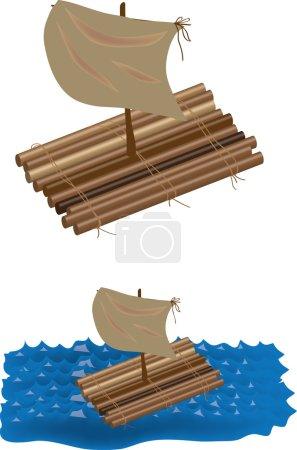 Raft in ocean