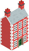 Isometric Dolls House Drawing with solid fill