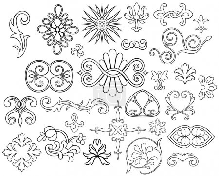 Set of 27 stylized outlined motifs and flourishes for your project