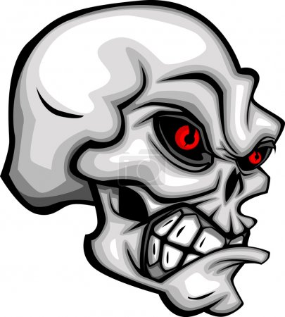 Photo for Cartoon Vector Image of a Skull with Mean Expression - Royalty Free Image