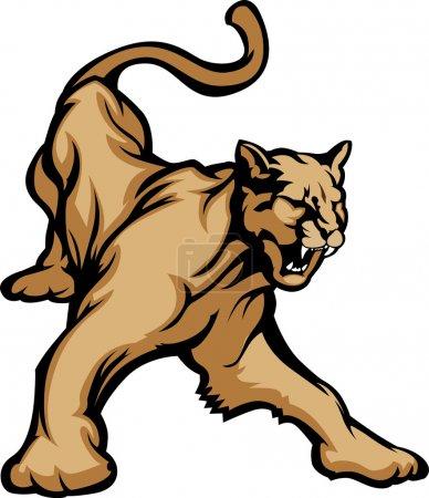 Illustration pour Image vectorielle graphique mascotte d'un grognement de cougar - image libre de droit