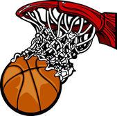 Basketball Hoop with Basketball Cartoon