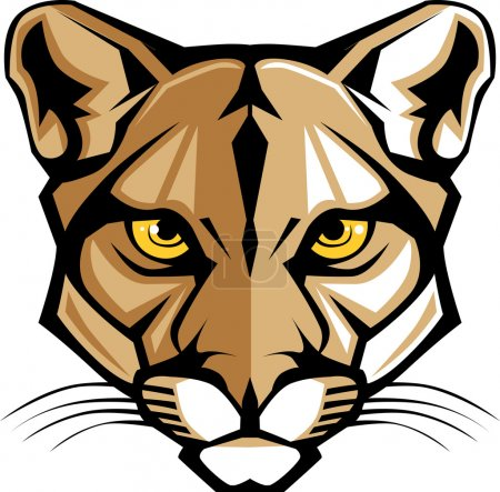 Photo pour Mascotte vectorielle graphique Image d'une tête de lion de montagne - image libre de droit