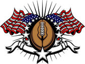 Stars and Stripes Patriotic American Football image with American Flags