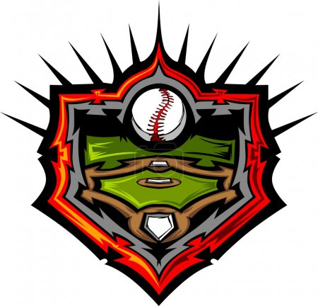 Baseball Field with Baseball Vector Image Template Baseball Fiel