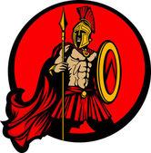 Maskot řecké spartánské trojan vektor s kopím a štítem