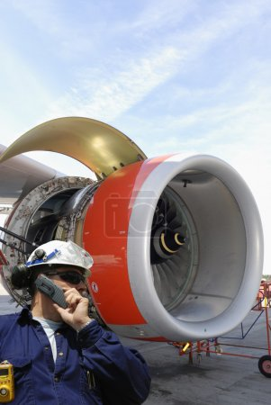 Mechanic and jet engine