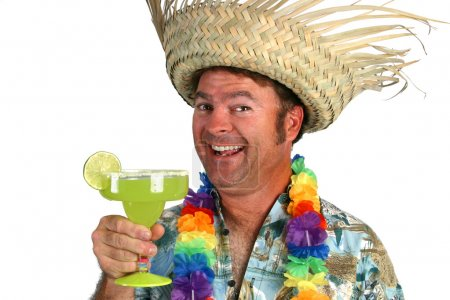 Photo for A happy drunk tourist drinking a margarita. - Royalty Free Image