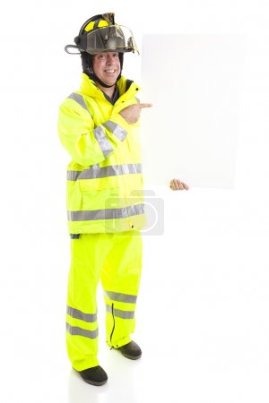 Fireman with Blank Sign - Full body