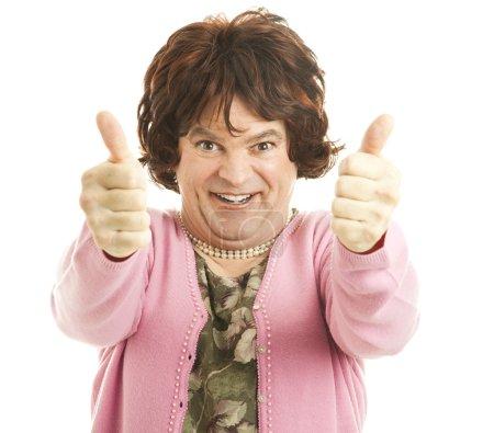 Photo pour Drôle d'imitateur féminin donnant deux pouces enthousiastes ! Isolé sur blanc . - image libre de droit