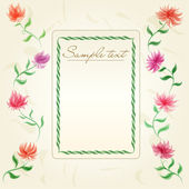 Vintage floral frame with cute chrysanthemums on old paper
