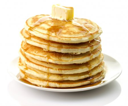 Stack of Golden pancakes with butter...