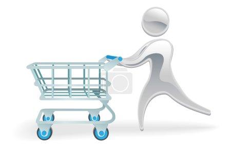 Metallic character shopping cart trolly concept