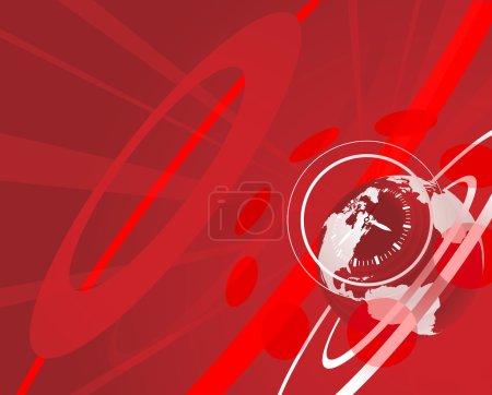 Illustration pour Illustration de fond horloge globe rouge - image libre de droit