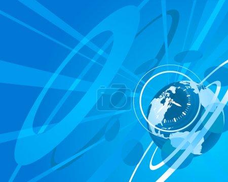 Illustration pour Globe bleu horloge fond illustration - image libre de droit