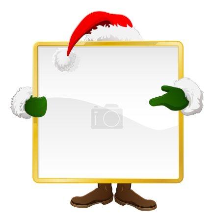 Illustration pour Père Noël debout derrière un panneau de Noël et pointant vers elle - image libre de droit