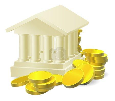 Illustration pour Illustration d'un bâtiment de banque stylisé entouré de grandes pièces d'or - image libre de droit