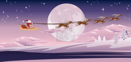 Santa flying in front of winter moon