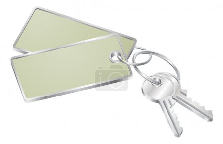 Illustration pour Illustration de deux clés sur un porte-clés avec balise avec espace de copie pour votre texte - image libre de droit