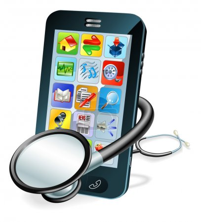 Illustration for A mobile phone with stethoscope wrapped round it. Problem diagnosis concept - Royalty Free Image