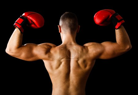 Photo for Boxer raising his arms in sign of victory - Royalty Free Image