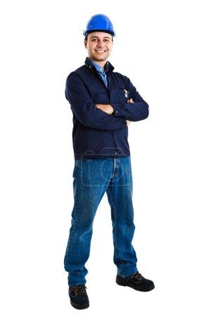 Photo pour Portrait complet d'un beau travailleur - image libre de droit
