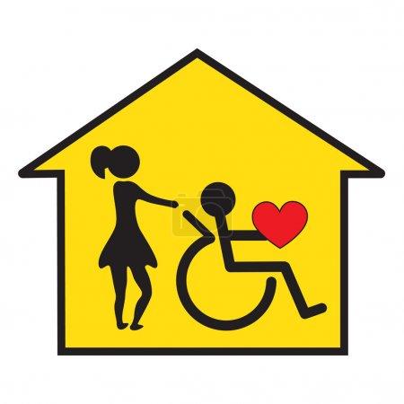 Photo pour Soins à domicile des handicapés Symbole - image libre de droit