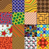 16 patterns of square tiles - illustration