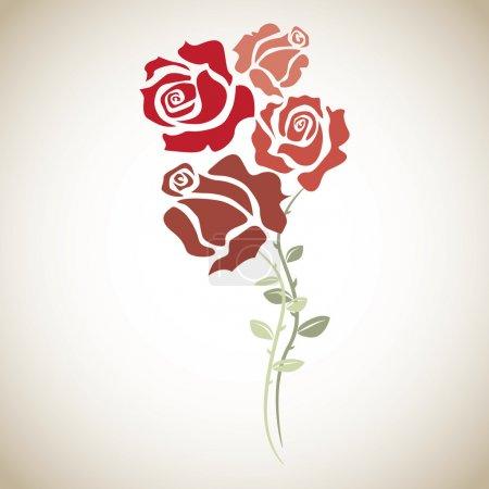 Illustration for Four red roses - sketch illustration - Royalty Free Image