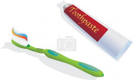 Illustration for Toothbrush and toothpaste - color illustration - Royalty Free Image