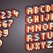 3D Pixel alphabet and numbers - illustration...