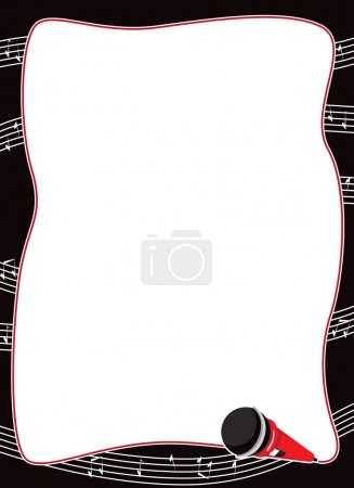 Microphone And Musical Notes Border