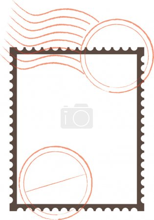 Illustration for Frame with a postage stamp perforation with rubber stamp imprints - Royalty Free Image