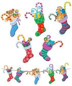 5 cartoon Christmas stockings over white background No transparency and gradients used
