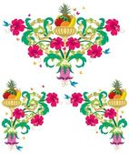 Set of tropical floral design ornaments in retro style No transparency and gradients used
