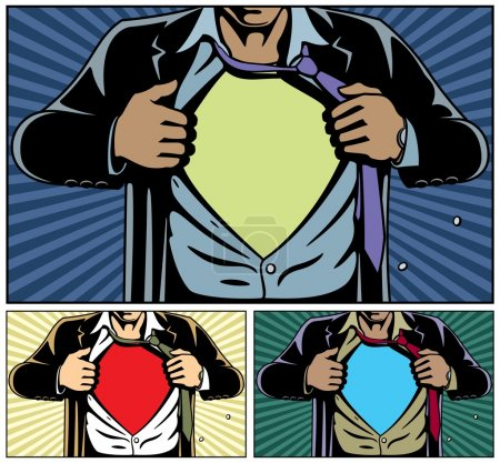 Illustration for Superhero under cover, comic book style. Add your logo on the shirt. Colors are very easy to change. No transparency and gradients used. - Royalty Free Image