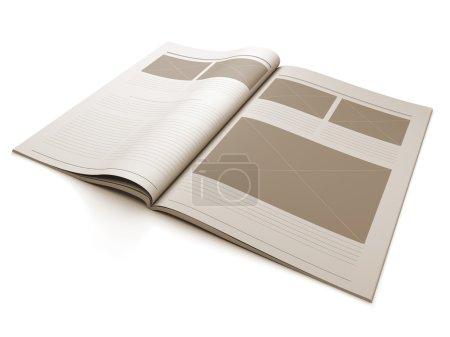 Photo pour Illustration en 3D d'une page blanche du magazine pour l'illustration de la mise en page . - image libre de droit