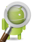 Magnifying glass on an android robot