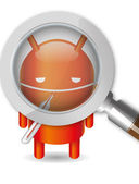 Magnifying lens scanning infected android robot