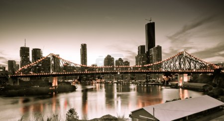 Photo for A vintage style Brisbane city skyline - Royalty Free Image