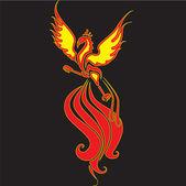 Fiery Phoenix with widely spread wingsFiery Phoenix with widely spread wings The image can be used for logo or tattoo