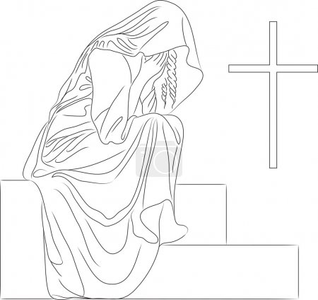 A woman weeps at the grave of the cross...