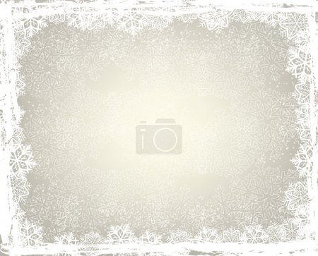 Winter background with snowflake frame...